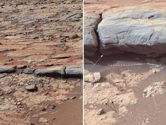 """NASA - 'Yellowknife Bay' Veins and Concretions.  Curiosity Mars rover provided this view of the lower stratigraphy at """"Yellowknife Bay"""" inside Gale Crater on Mars. The rectangle superimposed on the left image shows the location of the enlarged portion on the right.  In the right image, white arrows point to veins and black arrows point to concretions (small spherical concentrations of minerals). Both veins and concretions strongly suggest precipitation of minerals from water. 12/24/2012"""