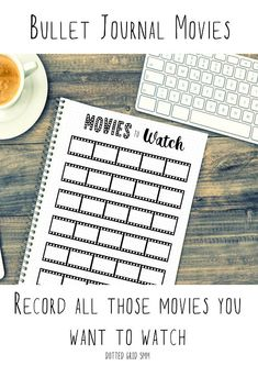MOVIES TO WATCH -----------------------------  A page to record all those movies you want to watch. This printable is bullet journal style on a 5mm dotted grid. It comes in 3 sizes, A4 and US letter (8.5x11) have room for 30 films, and the A5 size has