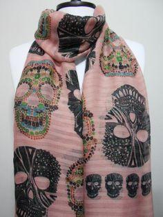 Sugar skull scarf #pink #scarves
