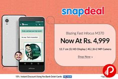 Snapdeal brings 33% off on Blazing Fast Infocus M370 Now at Rs.4999. +10% Extra Discount using Yes Bank Debit Cards. 16GB ROM, 2GB RAM, 5inch HD Display, 4G, 8+2 MP Camera, 1.3 GHz Octa Core Processor, 1 Year Warranty.  http://www.paisebachaoindia.com/infocus-m370-mobile-now-at-rs-4999-snapdeal/