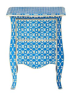 FARROW END TABLE Showcasing an ornate bone inlay and indigo finish, this lovely end table is perfect for resting a vase of vibrant blooms in the entryway or a reading lamp in. Unique Furniture, Painted Furniture, Comfy Cozy Home, Bone Color, Bohemian Design, Wool Carpet, Engineered Wood, End Tables, Coffee Tables