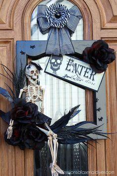halloween decorations wreath cabinet door repurpose, crafts, doors, halloween decorations, kitchen cabinets, kitchen design