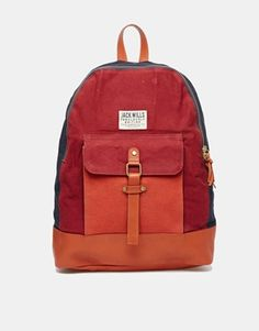 Jack Wills Colour Block Backpack with Leather Trim