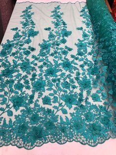 Bridal Lace Fabric - Hand Embroidered Flower Pearls TEAL For Veil Mesh Dress Top Wedding Decoration By The Yard White Lace Fabric, Embroidered Lace Fabric, Bridal Lace Fabric, Tulle Fabric, Rhinestone Fabric, Embroidery Fabric, Dear Costume, Flower Veil, Fabric Beads