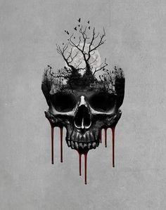 Evil Skull Tattoo, Skull Rose Tattoos, Demon Tattoo, Skull Tattoo Design, Body Art Tattoos, Creepy Tattoos, Cute Tattoos, Gotik Tattoo, Family Tattoo Designs