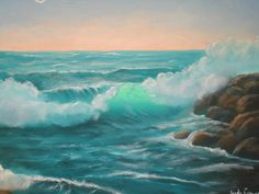 Ocean painting of wave with sunset background 16 inch by artsyjudi, $75.00