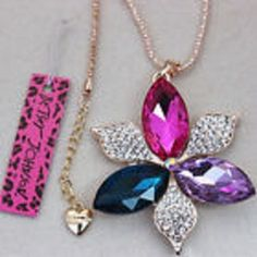 Betsey Johnson Rare Multi color Necklace USA SELLER & Free Gift with purchase  #BetseyJohnson