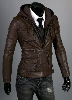 Handmade Men brown hooded leather jacket men by customdesignmaster, $159.99