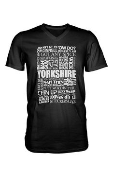f7248e32 Black unisex t-shirt with Yorkshire Sayings in contrasting single colour  print on the front