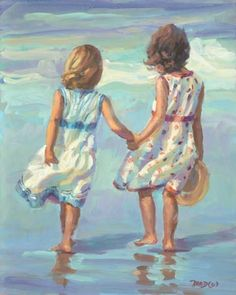SALE Little Ladies Beach Ocean Limited Edition Print Lucelle Raad Signed