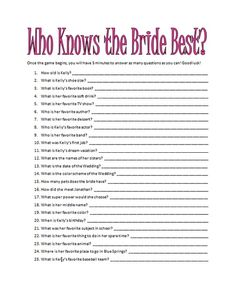 Game for Bridal shower - I like this idea... takes the pressure off of me :)
