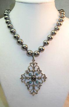 Upcycled Vintage Avon Hematite Necklace | TimelessDesigns - Jewelry on ArtFire