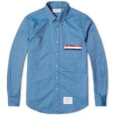 Thom Browne Stripe Pocket Classic Oxford Shirt (Green Blue Mix)