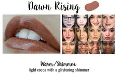 "Dawn Rising LipSense warm shimmer in a light cocoa with a glistening shimmer.  Available @ Gorgeous Lip message me or comment ""sold"" to purchase. Nicole McClung Independent Distributor LipSense / SeneGence #248677 www.gorgeouslip.com"