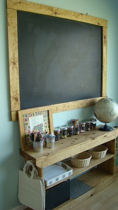 Love this organised craft space and the wall color and chalk board.. waldorf...