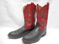 Ariat Men's 10 D Heritage Stockman Red & Black Leather Cowboy Western Boots #Ariat #CowboyWestern