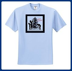 Christmas For Special People - Image of Merry Christmas Retro Black Silhouette kids and Tree - T-Shirts - Adult Light-Blue-T-Shirt Medium (ts_262558_51) - Retro shirts (*Amazon Partner-Link)