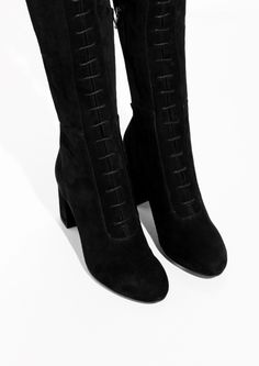 & Other Stories image 2 of Over The Knee Lace-Up Boots in Black
