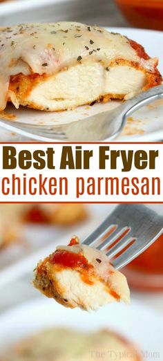 Air fryer chicken parm is the best! Crispy outside smothered with cheese and ten… Air fryer chicken parm is the best! Crispy outside smothered with cheese and tender chicken parmesan inside makes for the perfect hearty dinner. New Air Fryer Recipes, Air Frier Recipes, Air Fryer Dinner Recipes, Air Fryer Recipes Chicken Tenders, Fried Chicken Parmesan, Best Air Fryers, Queso, Kimchi, The Best