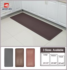 Grand Era Anti Fatigue Comfort Mat  20 In X 42 In  Multi Surface  All Purpose Luxurious Comfort   For Kitchen, Bathroom Or Workstations,Coffee