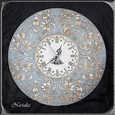 Купить Часы Ангельские - голубой, часы, часы настенные, часы интерьерные, часы кварцевые, Декупаж