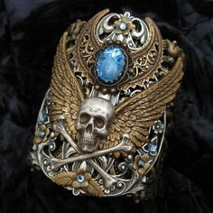Forbidden Treasure  Mixed Metal Cuff Bracelet by RavynEdge on Etsy