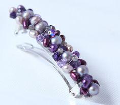 purple pearl hair barrette French barrette hair clip by Phaness, $25.00