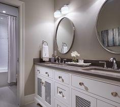 Benjamin Moore HC 172 Revere Pewter Bathroom. Bathroom paint color is Benjamin Moore HC 172 Revere Pewter. Cabinet is BM White Dove. revere-pewter-hc-172-benjamin-moore-bathroom #bathroom #paintcolor #BenjaminMooreHC172ReverePewter Vivid Interior Design. Hendel Homes