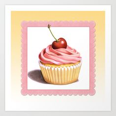 FREE WORLDWIDE shipping - excludes framed prints, stretched canvases and pillows with inserts but does include art prints, iPhone cases, pillow covers, totes bags, skins, t-shirts, hoodies and cards :) The Perfect Pink Cupcake Art Print by Patricia Shea Designs at #Society6
