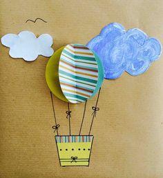 pacchetto regalo fai da te con mongolfiera di carta