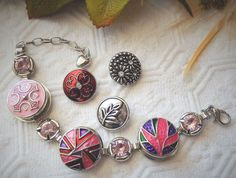 Interchangeable Silver Enamel Pink Crystal Snap Bracelet w/Extra Buttons