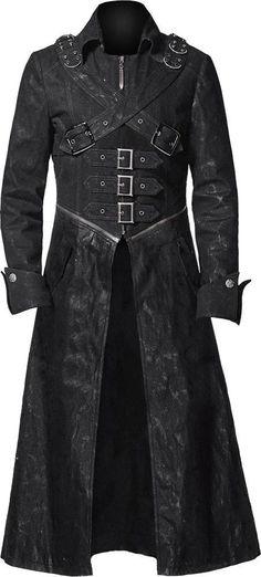 Gothic trench coat black denim http://www.the-black-angel.com/mens-coats/1277-black-denim-trench-coat.html