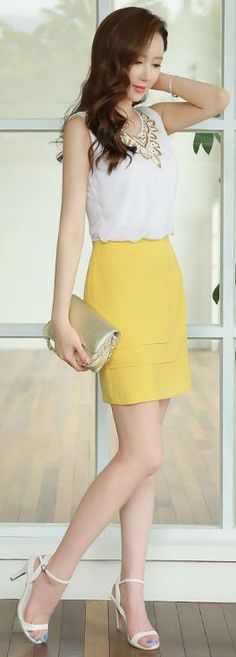 StyleOnme_Layered Flap Detail Pencil Skirt #yellow #skirt #summer #look…