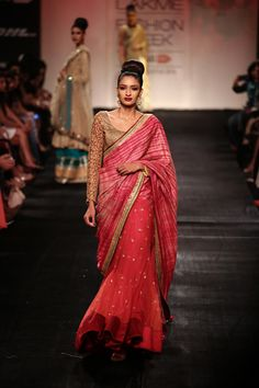 Sari by Vikram Phadnis at Lakme Fashion Week 2014 Indian Bridal Couture, Indian Bridal Wear, Indian Wear, Bridal Sari, Ethnic Outfits, Indian Outfits, Indian Clothes, Ethnic Clothes, Pakistani Dresses