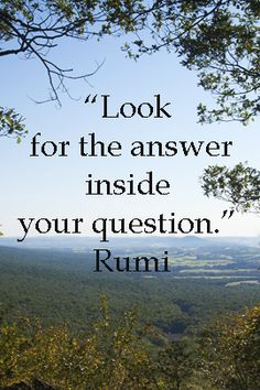 """""""Look for the answer inside your question.""""  -- Rumi -- On Hawk Mountain Sanctuary, PA, image by Dr. Joseph T. McGinn -- Explore quotations about discovery and innovation at http://www.examiner.com/article/essential-quotations-on-business-innovation"""