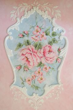 Shabby French Roses Rococo Painting by RoyalRococo on Etsy, $175.00