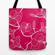 Pink Hibiscus Tote Bag by patterndesign - $22.00