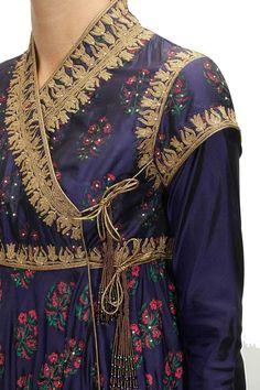 Rohit Bal presents Indigo block printed angrakha style anarkali set available only at Pernia's Pop-Up Shop. Ethnic Fashion, Indian Fashion, Fancy Dress Design, Angrakha Style, Lehenga, Anarkali, Sabyasachi, Sarees, Eastern Dresses