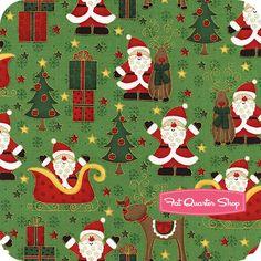 Novelty Christmas Green Santa and His Sleigh Yardage  SKU# 933-G   Novelty Christmas by Makower UK for Andover Fabrics