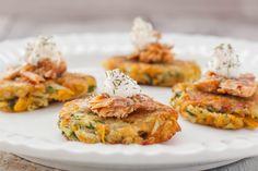 Add some flair to your latkes if you're tired of just plain potatoes. Zucchini Latkes, Potato Latkes, Matzo Meal, Yellow Squash And Zucchini, Jewish Recipes, Hanukkah Recipes, Hanukkah Diy, Everything