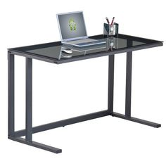 Aswan Gl Computer Desk In Smoked With Black Metal Frame