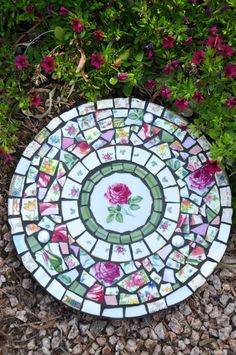 Mosaic Slate Round Stepping Stone with by 2ndTimeAroundMosaics