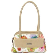 Kim Rogers Floral Dawn Minibag ($20) ❤ liked on Polyvore featuring bags, handbags, floral, white bags, flower print purse, stitch bag, floral handbags and kim rogers handbags
