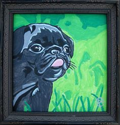 "Black Pug Puppy. ""Lucky Pug"".  Mini Framed Painting Acrylic on Canvas."
