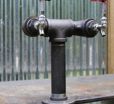 2 Tap Draft Beer Tower Black Iron Pipe Custom by TappedBeer