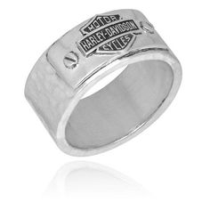 Harley DavidsonR Mens Hammered Silver Band Ring HDR0185