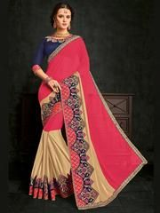 Pink And Beige Color Glitter Lycra And Marble Chiffon Designer Saree The fabulous pattern makes this saree from Indian Women a classy number to be included in your wardrobe. Pink and beige color glitter lycra and marble chiffon saree. Ideal for party, fes Best Designer Sarees, Buy Designer Sarees Online, Party Wear Sarees Online, Party Sarees, Stylish Sarees, Saree Shopping, Chiffon Saree, Traditional Sarees, Printed Sarees