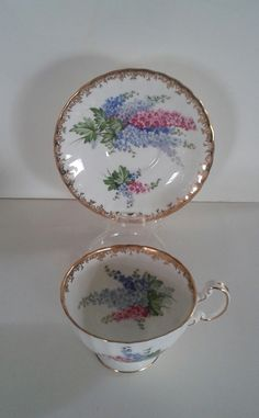Gorgeous Aynsley Delphiniums Tea Cup and Saucer Set Wide Mouth Est 1775 No 30 | eBay