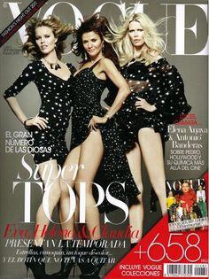 Eva Herzigova, Helena Christensen & Claudia Schiffer cover the September 2011 issue of Vogue Spain.