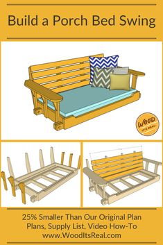 Bigger isn't always better. At the request from many Wood. It's Real. fans, we have re-designed our popular Porch Bed Swing, this time it's 25% smaller.